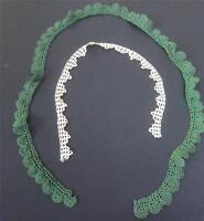 Antique Crochet Lace Needlework Collar Trim 2pc Lot Green, Ivory Exc Vintage