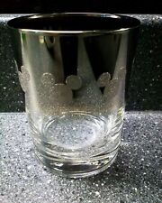 Glitter Etched Disney Mickey Mouse Smoked Mirror Glass Rare Glass Disneyana Ears