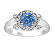 1.01 CARAT ENHANCED  BLUE DIAMOND ENGAGEMENT RING 14K WHITE GOLD HANDMADE