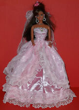 BARBIE SINDY DOLL DRESS BRIDE WEDDING GOWN ROMANY CLOTHING, VEIL - PINK,GORGEOUS
