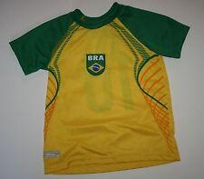 Nuovo Braziline Brasiliano Calcio Top a Maniche Corte Maglietta Taglia 4-5 Anni