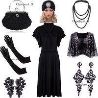 Vintage 1920s V Neck Long Bias Sleeveless Flutter Sleeves Bowknot Flapper Dress