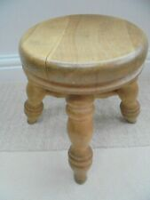 Victorian style round milking stool, 4 legs, chunky rustic, plant stand, beech?