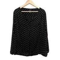 Torrid Womens Blouse Black Polka Dot Buttons V Neck Long Sleeves Pockets Plus 3X