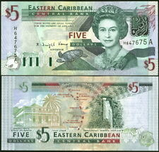 LOVELY QEII EAST CARIBBEAN STATES $5 NOTE P-42a - UNC TURTLE FISH WATERFALL MAP!