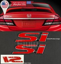 """(2) 4.3"""" x 1"""" Metal Red SI Emblem Decal Sticker Badge For Civic Trunk Fender Lip"""