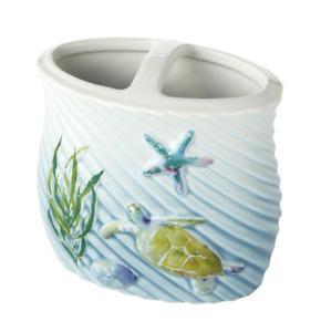 Watercolor Ocean Toothbrush Holder Nautical Sea Turtle Bathroom Countertop Beach