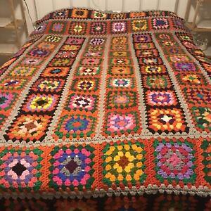 "Vtg Handmade Crochet Granny Square Blanket Afghan 84"" X 54"" Bright Vivid Colors!"