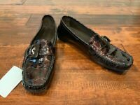 Stuart Weitzman Brown Patent Leather Reptile Body Loafers, Size 9