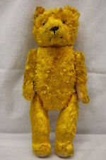 "Portobello Road Flea Market ""GOLDIE"" Bright Gold Jointed Bear, 15"" Tall, England"