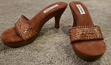 STEVE MADDEN Women's 'Donna' Brown Leather Slide Wood Mule Sandals Size 8.5 NEW