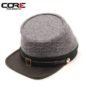 Civil War Confederate Officers Leather Peak Kepi, Grey with Green Band Kepi Hat