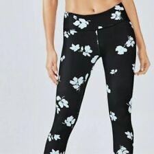 Fabletics Salor PowerHold Legging Mid Rise Black White Jasmine Flower Size Small