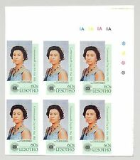 Lesotho #396 Queen Elizabeth, Commonwealth Day Imperf Archival Cylinder Block 6