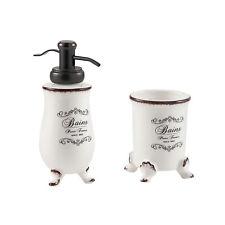 Set 2 pezzi ceramica bianca shabby chic arredo bagno dispenser e portaspazzolino