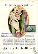Alpina Gruen Gilde Uhren Taschenuhr XL Reklame von 1929 Spielkarten Kartenspiel