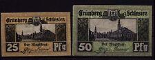 [15940] - 2 x Notgeld GRÜNBERG (heute: Zielona Góra), Stadt, 25 + 50 Pf, -31.12.