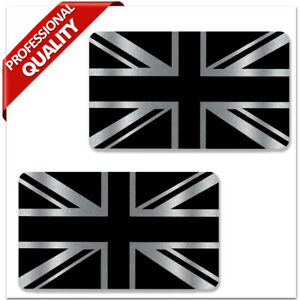 GB Union Jack Great Britain UK England Flag Silver Stickers Decals Car Motorbike