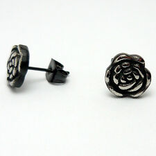 1 Paar schwarze Rose Ohrstecker Ohrringe Edelstahl Frauen Damen