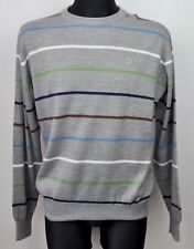 DICKIES Sweatshirt XL Jumper Grey Mens Wool Blend Sweater Crew Neck Striped Top