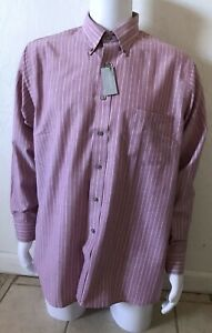 VAN HEUSEN Mens Size 16.5 Striped Wrinkle Free Button Up Collared Oxford Shirt