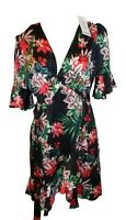 Boohoo Womens Floral Satin Wrap Midi Dress Black Size L £21.99 BRAND NEW