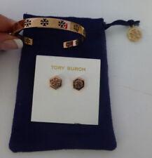 Tory Burch Pierced T Cuff Bracelet Bangle + Earring Set Lot Rose Gold New