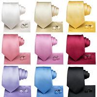HT Silk Mens Tie Solid Plain Necktie Hankerchief Cufflinks Set for Wedding Party