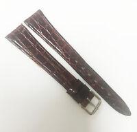 Kalbe Genuine Croco Medium Brown Tone 14mm Leather Gold Buckle Watch Band