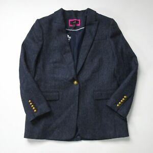 NWT J.Crew Long Parke Blazer in Navy Herringbone English Wool Jacket 12P