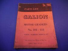 1960 Galion Motor Grader 104-118 Parts List No.2091 Serial # 02601 & Up