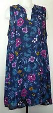 Old Navy Blue Floral Print V-Neck Slip-Lined Poly Crepe Sleeveless Dress XL