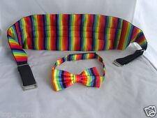 Vrt) RAINBOW Polyester Bow Tie & Cummerbund Set>P&P2UK>1st Class-Over 60 Colours