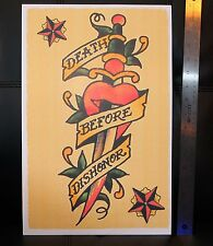 DEATH BEFORE DISHONOR vintage Sailor Jerry Traditional style Flash poster print