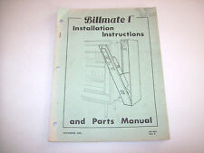 1988 BILLMATE 1 DOLLAR BILL CHANGER SERVICE INSTRUCTION AND PARTS MANUAL