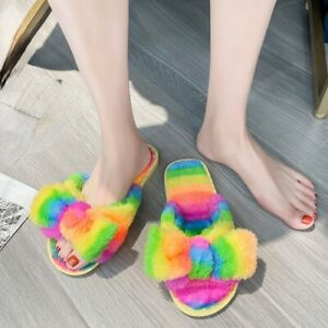 Lady Faux Fur Bow Fluffy Sandals Slip on Slippers Furry Flats Shoes Rainbow Cute