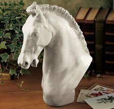Horse Statue Head Sculpture Ornament Stallion Bust Antique White Stone Finish