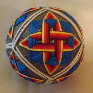 Japanese Temari Ball Woven Flame in Blue square on gray