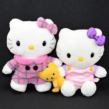 Nakajima Sanrio Hello Kitty Plush Lot of 2 ~ Yellow Teddy Bear - Pink Plaid Coat