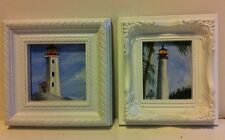 2 Mini Original Acrylic Paintings of Lighthouses..Framed under glass