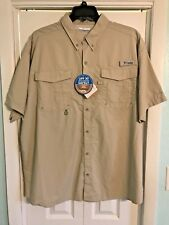 Columbia PFG Distant Water Short Sleeve Shirt Vented back UPF 30 2XL Tan  NWT