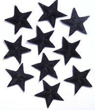Pack of 10 Black iron-on or sew-on star patches / applique > hand finished