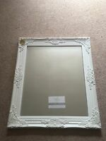French Ornate Real Wood White Large Vintage Mirror Shabby Chic 63 X 73 Cms BN