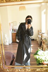 Classic Wool + Cashmere Belted Coat 12 Dark Grey Long Double Breasted
