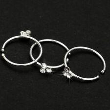 Lady Crystal Rhinestone Nose Ring Bone Stud Surgical Steel Body Piercing Jewelry