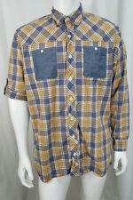 Bob Timberlake yellow blue plaid roll up sleeves button down shirt mens L Tall