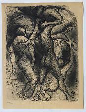 1955 René-Jean CLOT Lithographie originale en noir 1/200 Les Violents Enfer