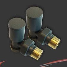 NEW! Angled Anthracite Valves for Radiators & Towel Rails (Pair)