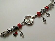 Handmade SNOW WHITE Charm Bracelet Watch with 8 Charms and 6  Mesh Beads