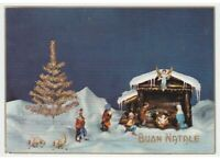 Merry Christmas Nativity Hut Figurines Angel Photo Card Greeting Cards Vintage